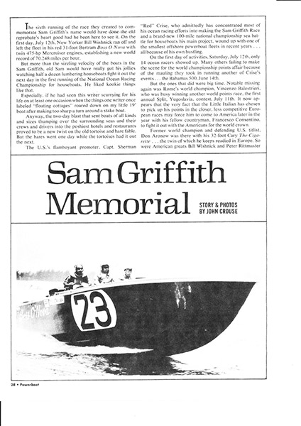 Sam Griffith Memorial